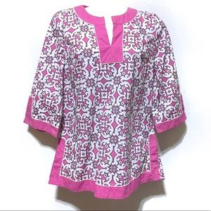 Pink & White Boho Peasant Tunic Top Medium NEW